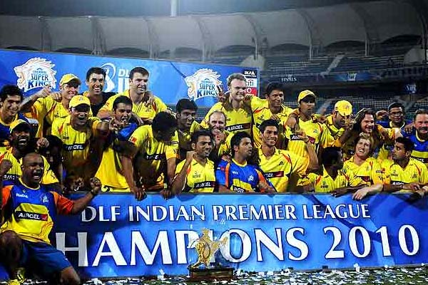 IPL 2010 Season 3 Chennai Super Kings Winning Moment Picture Image Photo copy